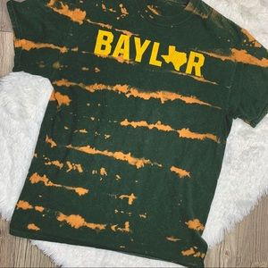 Tops - Bleach dye hunter green Baylor tee